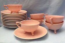 Vintage Czech Republic, Royal Epiag, Pink Porcelain 17 Piece Cup & Saucer Set