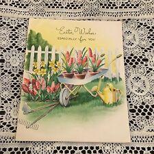 Vintage Greeting Card Easter Flower Cart Fence Tools