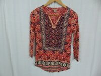 Lucky Brand Women's Block Floral Top 3/4 Sleeve V Neck Casual Red Blue Size XS