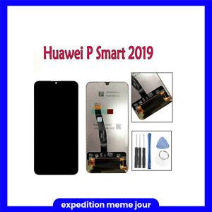 ECRAN POUR HUAWEI P SMART 2019 LCD VITRE TACTILE POT-LX1 NOIR + OUTILS