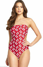 Ladies RESORT Cut Out England Swimsuit - Bandeau Halterneck Bust Support Womens