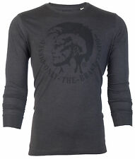DIESEL Mens L/S T-Shirt ACHEL Indian Head CHARCOAL GREY Designer Jeans M-XL $68