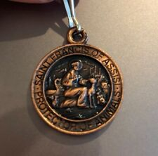 ST. FRANCIS MEDAL for PET - NEW - Copper with great detail and clip & prayer