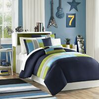 Blue, Khaki & Green Striped Boys Full / Queen Comforter Set 4 Piece Bed In A Bag