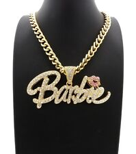 """NEW Barbie Pendant With 9mm 18"""" Link Chain Necklace 14k Gold Plated"""