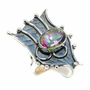Rainbow Mystic Topaz Gemstone Handmade 925 Sterling Silver Ring Size 10