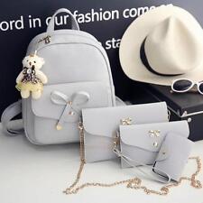 4pcs Women's Backpack Pu Leather Rucksack Travel Schoolbags Shoulder Bag Satchel