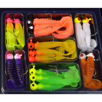 17Pcs Soft Worm Lure Fish Lure Set Head Jig Hooks Fishing Baits Set Tackle