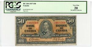 🔸CANADA 50 DOLLARS 1937 BC-26b PCGS CURRENCY 20 VF🔸