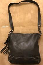 Black Coach Leather Duffle Tassel Crossbody Shoulder Handbag 1415