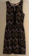 BLUE RAIN Women's Black Lace Nude Lined Sleeveless Dress ~ Size M