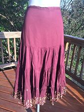 """New_Boho Peasant_30"""" Long Auburn Brown Tiered Sequined Lined Cotton Skirt_size L"""