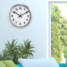 Wall Clock 10 in. H Silver Metal Analog Single Battery Operated with White Dial