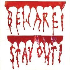 Halloween Horror BEWARE STAY OUT Blood Chop Shop Gel Cling Party Decoration