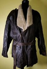 Marc Buchanan Brown Leather Shearling Collared Bomber - For Tannery West Size 42