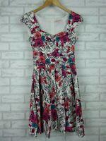Review Fit& flare dress White, black, pink floral print Sz 6