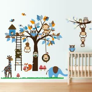 ANIMAL JUNGLE ZOO ELEPHANT MONKEY TREE WALL STICKER BABY KIDS ROOM CHILDREN