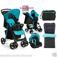NEW Hauck Shopper SLX Pushchair Travel System shop n drive set Caviar Black/Aqua