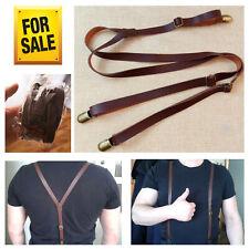 Solid Braces Leather Hook Suspenders Men Buckle Braces Y Back Strap Accessories