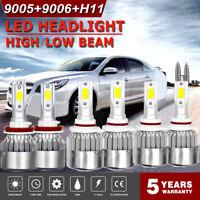 9005 + H11 + 9006 6000K 3900W 585000LM Combo COB LED Headlight Kit Hi Low Bulbs