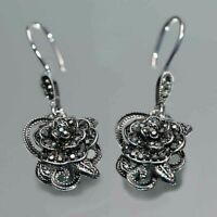 Vintage Black Flowers Dangle Drop Earrings Women 925 Silver Jewelry