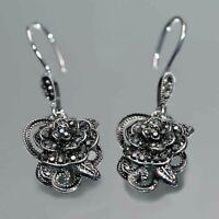 Vintage Black Flowers Dangle Drop Earrings Women 925 Silver Jewelry