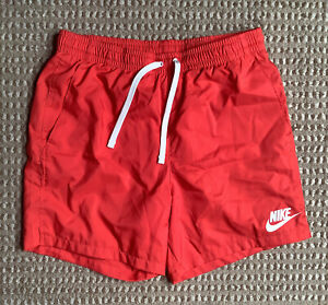 Vintage Nike Swim Trunks Shorts Mens M Red Large White Swoosh Pocket Drawstring