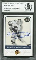 2001-02 greats of the game #7 BOBBY HULL autograph blackhawks BGS BAS AUTHENTIC