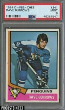 1974 O-Pee-Chee OPC #241 Dave Burrows Pittsburgh Penguins PSA 9 MINT