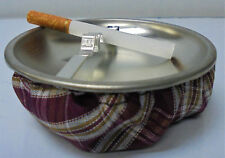 Eclipse Purple Plaid Fabric Weighted Beanbag Ashtray, Ash11