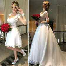 White Lace Princess Wedding Dresses Long Sleeves Detachable Skirt Bridal Gowns