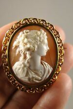 BROCHE CAMEE ANCIEN OR MASSIF 18K ANTIQUE SOLID GOLD SHELL CAMEO BROOCH