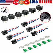 6PCS 12V 4-Pin Car Relay Switch Harness Set 30AMP Fuse 14 AWG Hot Wires SPST Kit