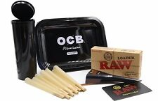 RAW KING SIZE CONES (10 COUNT)  RAW LOADER PLUS  OCB ROLLING TRAY