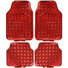 carXS Full Metal Design Car Floor Mats Heavy Duty Metallic 4pc Front Rear Red