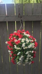 Beautiful  Cerise Pink / White Artificial  Trailing Hanging Basket Ready To Hang
