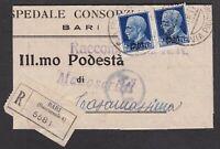 ITALIA REGNO coppia 1,25 lire P.M. su raccomandata da bari a Casamassima