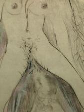 Salvador Dali Gravure Érotique La Femme à Cheval Nu Beaubourg Surréalisme