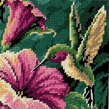 "Hummingbird Drama Mini Needlepoint Kit 5""X5"" Stitched In Thread 088677072100"