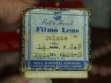 """Vintage Bell & Howell Filmo Lens 1.5"""" F:3.5 Telate with Box and Instructions"""
