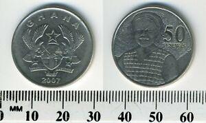 Ghana 2007 - 50 Pesewas Nickel Plated Steel Coin - Figure of market woman facing