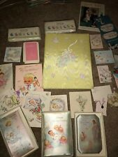 Rare Lot Vtg. new baby announcements, cards, baby book, baby names, diaper pin