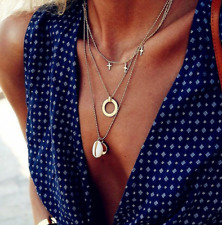 Fashion Beach Shell Cross Round Chain Multilayer Gold Long Necklace Set Women
