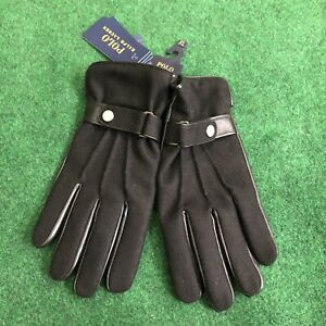POLO Ralph Lauren Sheep Leather / Wool Lined Black NEW Men's Gloves Size XL $68