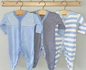 NEXT 3 Pack Sleepsuits Baby Boys. First Size Blue Stripes. UNLIMITED POSTAGE