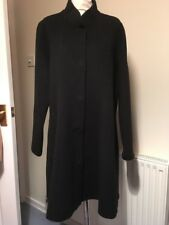 EILEEN FISHER BLACK HIGH COLLAR WOOLLEN COAT UK 14