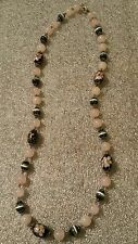 Rose Quartz And Millefiori Bead Necklace Cat's Eye Bead Necklace