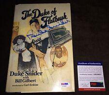 Duke Snider LA Dodgers HOFer Signed Autograph Duke of Flatbush Book PSA/DNA COA