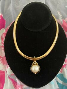 ESTATE 14kt ITALY Solid Yellow Gold Omega Necklace w/Mane  pearl.