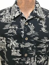 OP Sport L Hawaiian Black Short-Sleeve Cotton Shirt Tropical House Rocking Chair